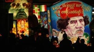 Una caricatura de Muhamar Kadafi en el carnaval de Basilea, Suiza, 22 de febrero de 2010