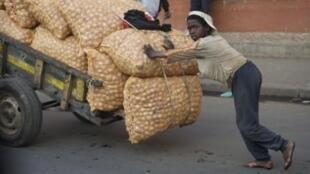 Un enfant travaille dans les rues d'Antananarivo. La peste est particulièrement contagieuse chez les hommes, et notamment les enfants.