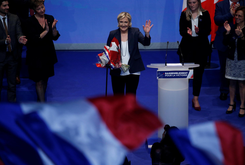 Marine Le Pen, jefa del Frente Nacional francés, en la clausura del Congreso del partido en Lille, Francia, el 11 de marzo de 2018.