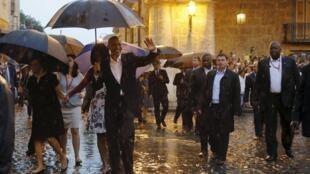 Obama en las calles de La Habana en la tarde del domingo