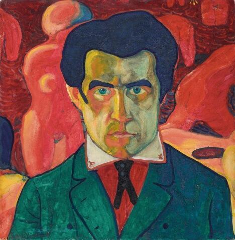 Auto-retrato de Kasimir Malevich, realizado entre 1908 e 1910.