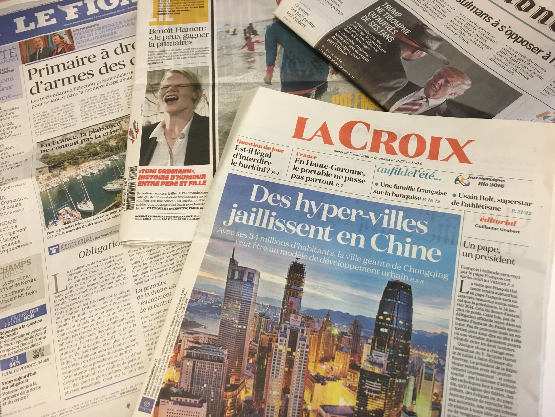 Primeiras páginas dos diários franceses 17/08/2016