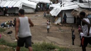 Le camp de La Penita, province de Darien, Panama, le 6 août 2020, où des centaines de migrants restent bloqués au milieu de la pandémie du coronavirus.