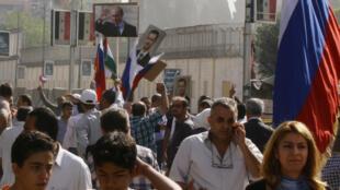 Tập hợp trước Xứ quán Nga tại Damas. Ảnh ngày 13/10/2015.