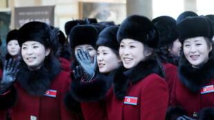Des membres de la délégation nord-coréenne à Inje, en Corée du Sud, le 7 février 2018.