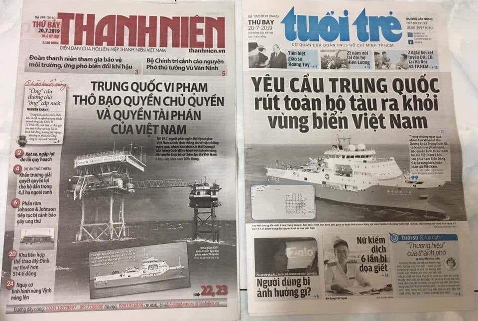 Báo chí Việt Nam bắt đầu lên tiếng về vụ tàu Trung Quốc xâm phạm bãi Tư Chính, sau khi được cởi trói.