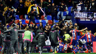 Giampaolo Pazzini was mobbed by teammates after scoring on his debut for Levante