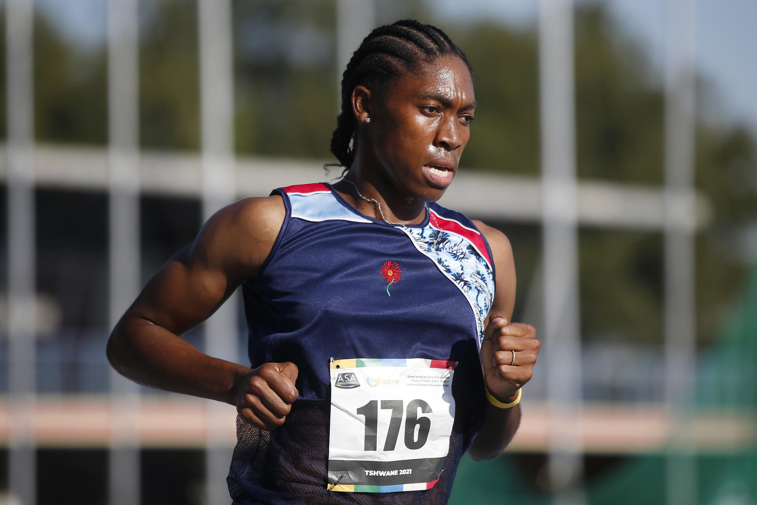 Double Olympics 800 metres champion Caster Semenya on her way to winning the South African championships 5,000m title in Pretoria