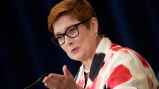 Ảnh minh họa: Ngoại trưởng Úc Marise Payne trong cuộc họp báo ngày 28/07/2020, tại Washington, Hoa Kỳ.