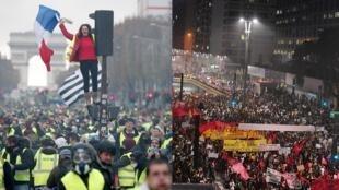 Fotomontagem com as manifestações no Brasil em 2013 na Av. Paulista em 20/06/13 e protestos em Paris em 24/11/18.