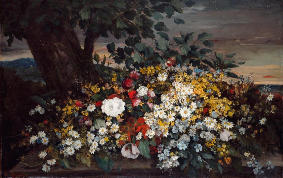 """""""Flores sobre um banco"""", pintura realizada em 1862 por Gustave Courbet."""