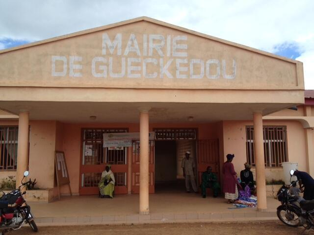 A local council building in Guéckédou, Guinea, where Ebola patients are cared for