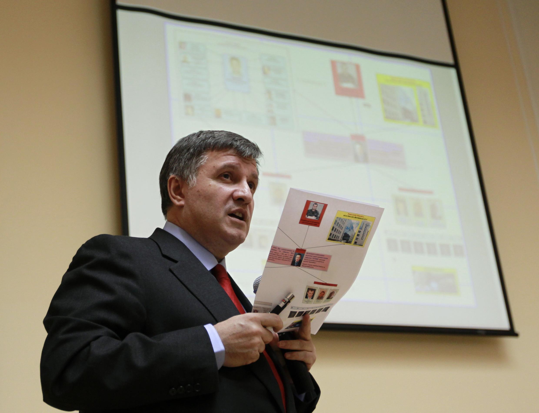 Arsen Avakov, ministro do Interior ucraniano durante coletiva de imprensa em Kiev.