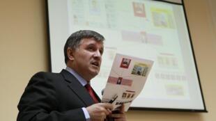 Arsen Avakov, ministro do interior durante coletiva de imprensa em Kiev, Ucrânia.