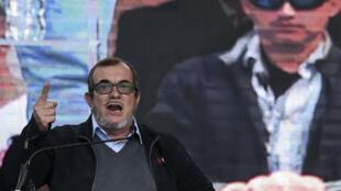 Rodrigo Londoño (Timochenko) durante campanha para as presidenciais em Bogotá, na Colômbia. 27/01/18
