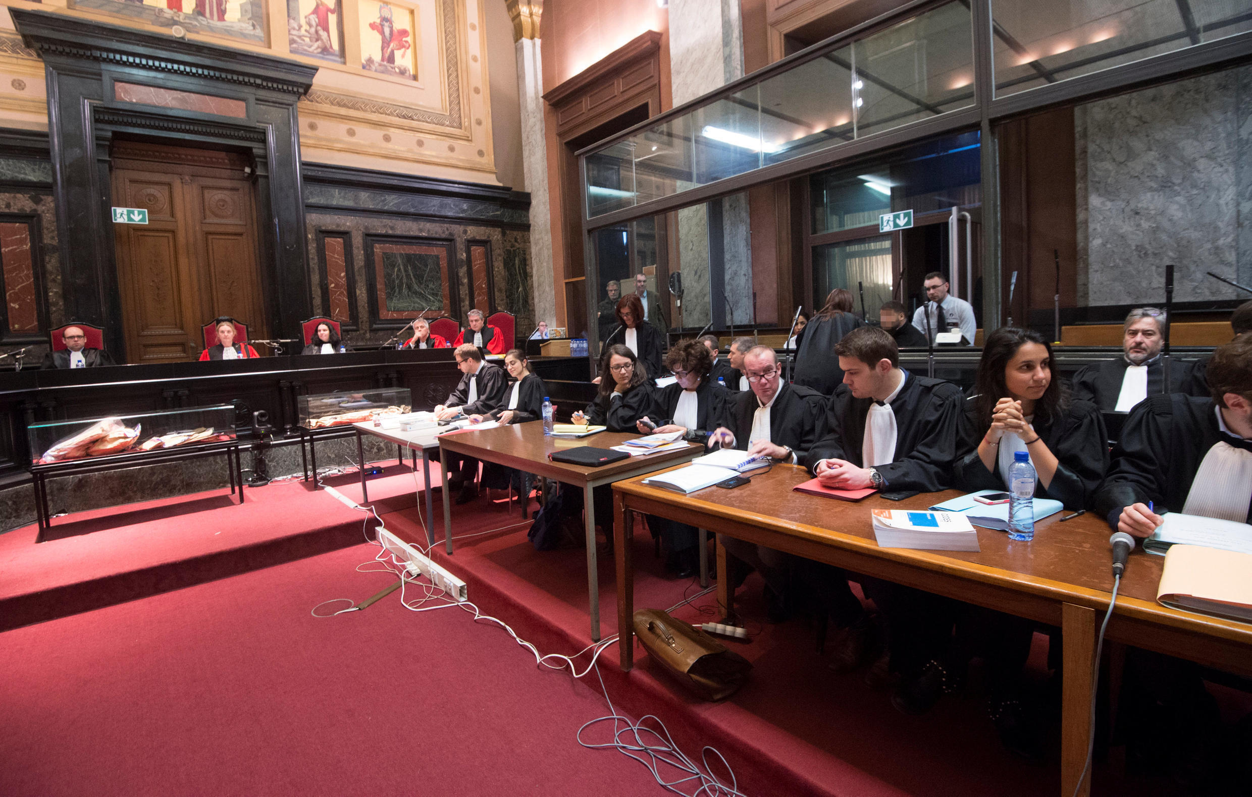 The court room in Brussels on the opening day of Nemmouche's trial, 10 January 2019.