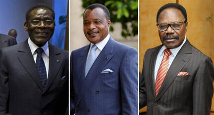 Le président de la Guinée-Equatoriale, Teodoro Obiang (g), le président du Congo, Denis Sassou Nguesso (c) et le défunt président du Gabon, Omar Bongo Ondimba.