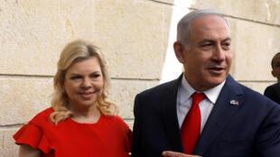 Waziri Mkuu wa Israel Benyamin Netanyahu na mkewe Sara Netanyahu, Mei 14, Jerusalem.