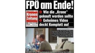 La Une de la Kronen Zeitung le lendemain du scandale de l'Ibizagate. C'est l'un des journaux les plus attaqués par le FPÖ.