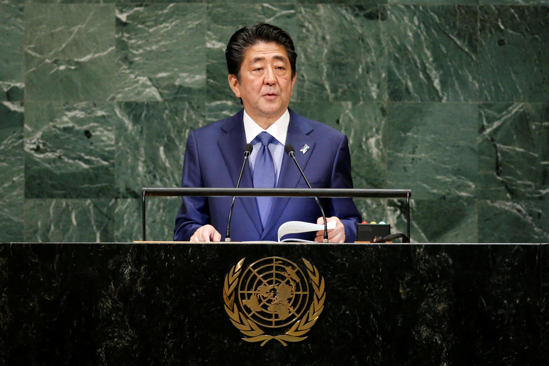 Thủ tướng Nhật Shinzo Abe phát biểu tại Đại Hội Đồng Liên Hiệp Quốc, New York, ngày 25/09/2018.