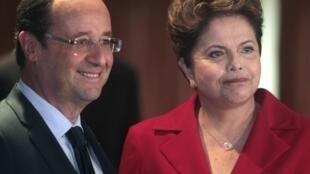 A presidenta Dilma Rousseff e o presidente francês François Hollande se encontraram no primeiro dia da Conferência Rio+20 nesta quarta-feira, no Rio de Janeiro.