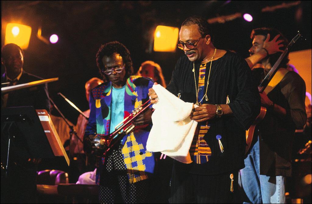 Miles Davis et Quincy Jones au Festival de Jazz de Montreux, Suisse, en juillet 1991.