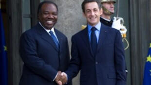 Gabonese President Ali Bongo Ondimba with French President Nicolas Sarkozy after coming to power last year