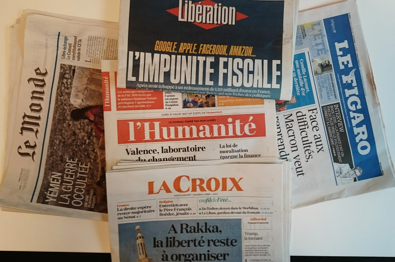 Primeiras páginas dos jornais franceses de 31 de julho de 2017