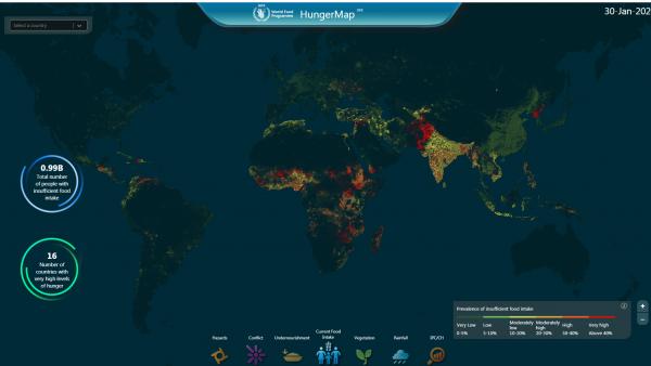 Le Programme alimentaire mondial vient de lancer une nouvelle version de sa carte interactive de la faim dans le monde.