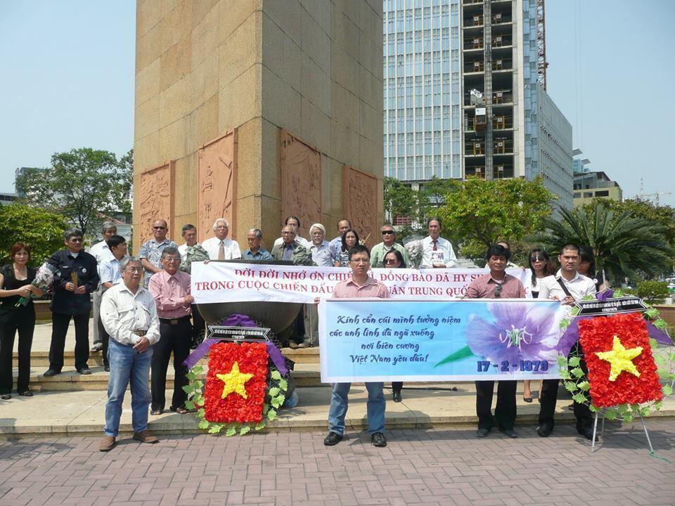 Nhân sĩ trí thức Saigon làm lễ kỷ niệm 35 năm cuộc chiến chống Trung Quốc xâm lược, ngày 18/02/2014.