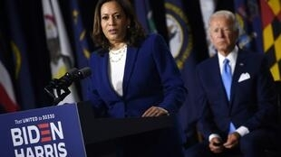 Democratic vice presidential candidate Senator Kamala Harris speaks at a campaign event, on her first joint appearance with presidential candidate and former Vice President Joe Biden after being named by Biden as his running mate, at Alexis Dupont High School in Wilmington, Delaware, U.S., August 12, 2020. REUTERS/Carlos Barria