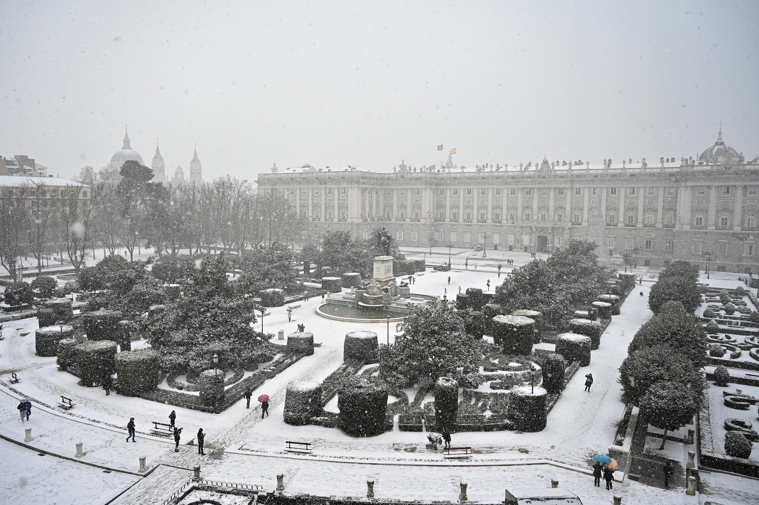 Downtown Madrid lied under a blanket of heavy snow brought on by storm Filomena, 9 January 2021