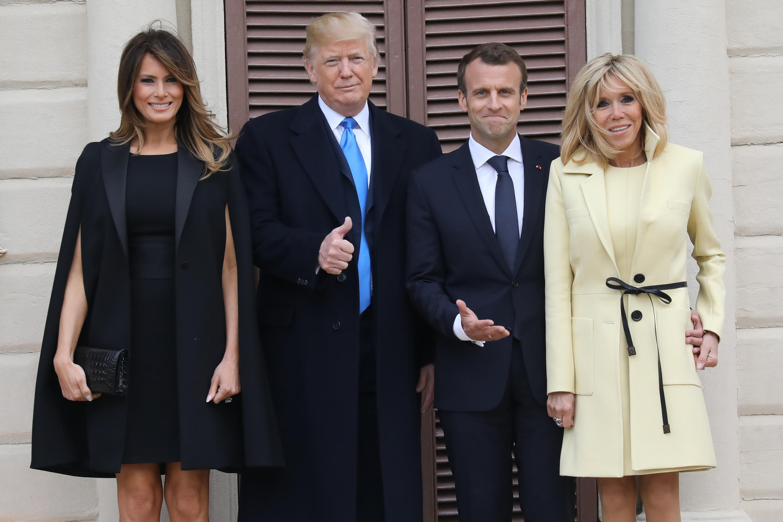 Tổng thống Mỹ Donald Trump và phu nhân Melania (T) cùng với tổng thống Emmanuel Macron và phu nhân Brigitte tại Mount Vernon, Virginia, ngày 23/04/2018.