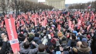 Biểu tình tại Saint Petersbourg ủng hộ nhà đối lập Nalvany, phản đối bầu cử giả hiệu, ngày 28/01/2018