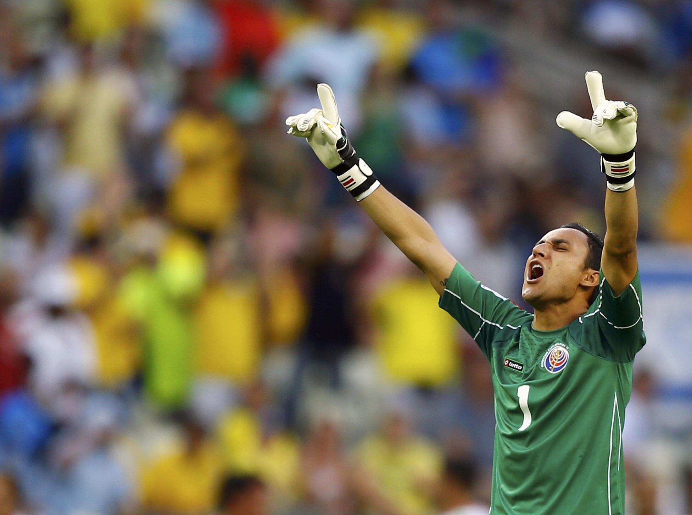 Costa Rica's Keilor Navas celebrates their second goal against Uruguay