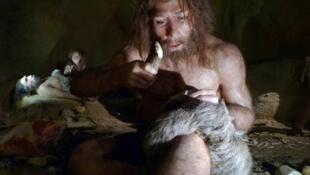 Reconstitução do homem de Neandertal no Museu de Krapina, na Croácia