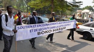 Une marche de soutien aux forces armées dans leur lutte contre Boko Haram, dans les rues de Yaoundé, le 21 janvier 2015.