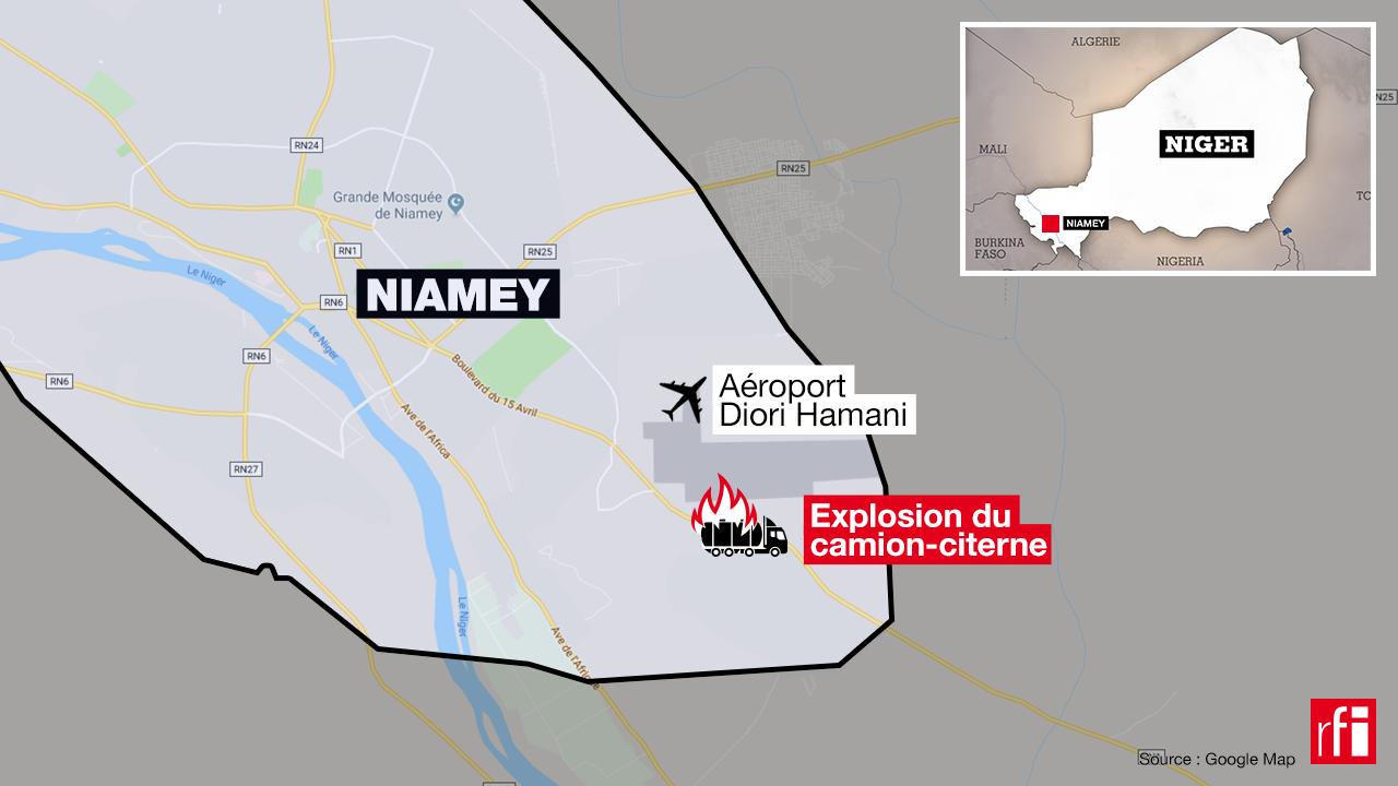 Lieu de l'accident d'un camion-citerne le 6 mai 2019 à Niamey, Niger.