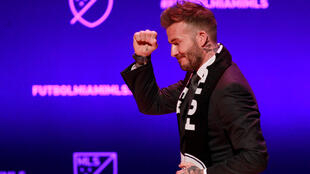David Beckham, wearing a league scarf, salutes a section of the crowd at this official announcement for Miami's MLS expansion team in Miami, Florida, U.S. January 29, 2018
