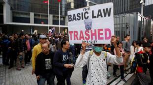 香港元旦游行参与者资料图片
