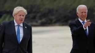 英国首相约翰逊与美国总统拜登资料图片