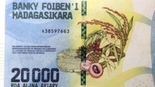 Le nouveau billet malgache de 20 000 aryary (6 euros).