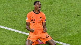 Denzel Dumfries celebrates after scoring the Netherlands' late winner against Ukraine