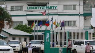 Le quartier général du Parti de la liberté de Charles Brumskine, le 6 novembre 2017 à Monrovia.