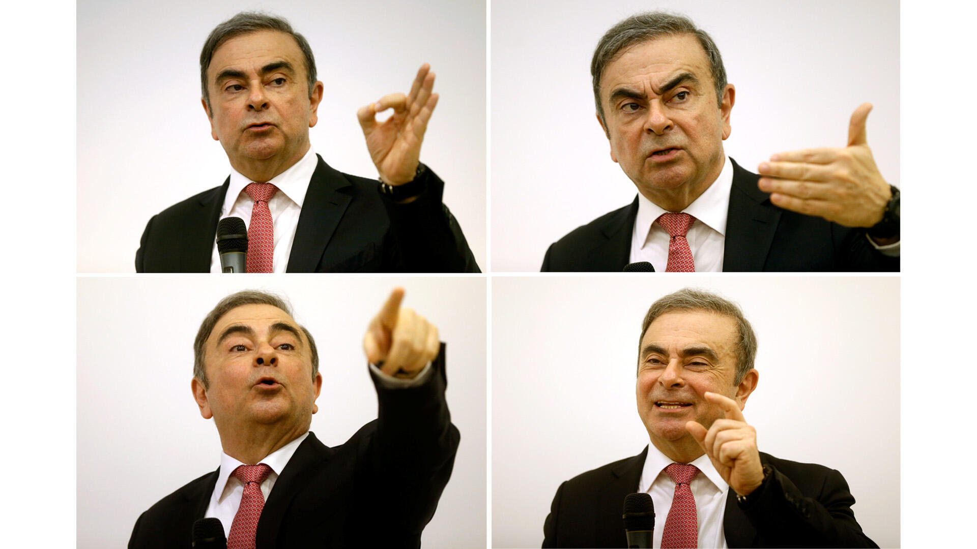 A combination of photos show Nissan chairman Carlos Ghosn gesturing during a news conference at the Lebanese Press Syndicate in Beirut, Lebanon January 8, 2020. Picture taken January 8, 2020.