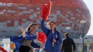 Le stade de Mordovia Arena qui contient 45000 places et accueillera plusieurs matches de la Coupe du monde de la FIFA 2018 à Saransk, en Russie.