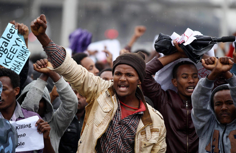 Masu zanga zanga a birnin Addis Ababa na kasar Habasha