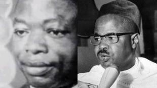 Le leader nationaliste camerounais Ruben Um Nyobe (g) et le premier président du Cameroun indépendant Ahmadou Ahidjo (d).