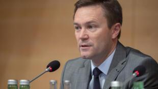 Le président de l'UCI, David Lappartient, en conférence de presse à Innsbruck, en Autriche, le 29 septembre 2018
