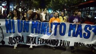Manifestação em Bilbao, na Espanha, contra a libertação de Inés del Río, em 21 de outubro de 2013.